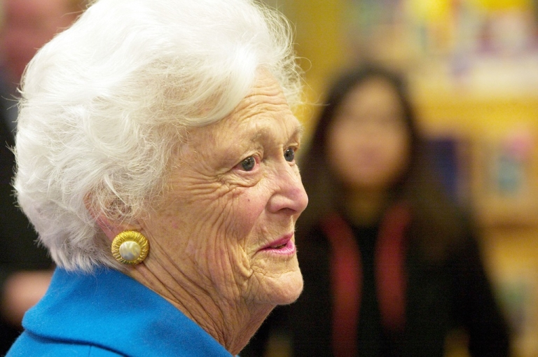 <p>Former first lady Barbara Bush greets people for the release of her new book 'Reflections: Life after the White House' on Dec. 12, 2003 in Washington, DC.</p>