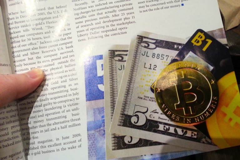<p>What physical Bitcoins could look like, shown in the December 2012 issue of Bitcoin Magazine.</p>