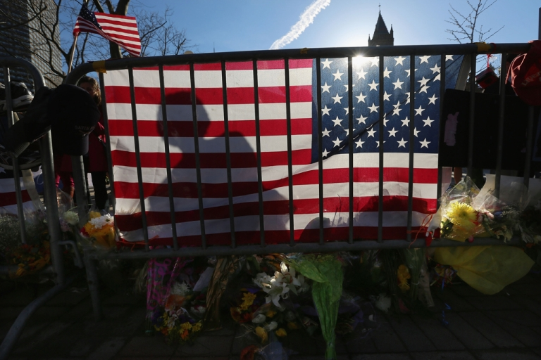 <p>A makeshift memorial in Copley Square, near the site of one of the Boston Marathon bombings, on April 24, 2013.</p>