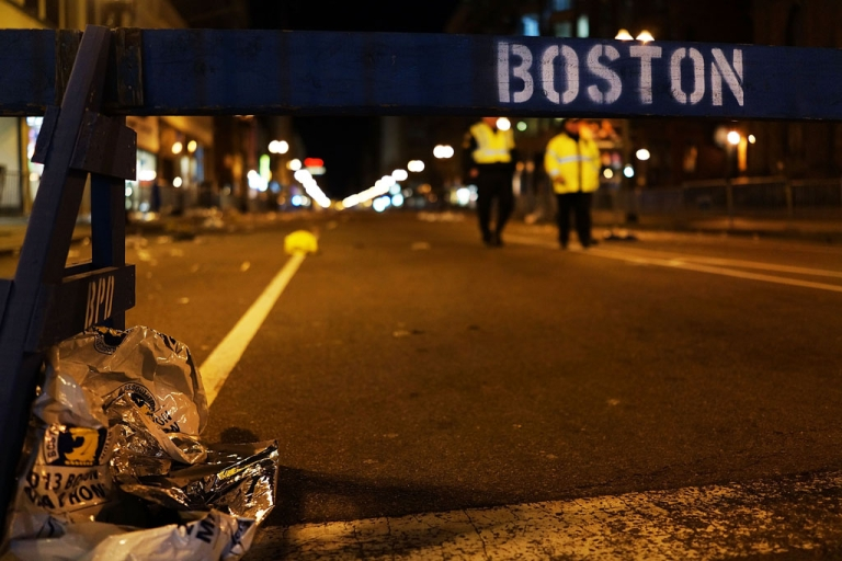 <p>Female DNA has been found on bomb used in the Boston Marathon attacks. A piece of debris rests against a police barricade near the scene of a twin bombing at the Boston Marathon, on April 16, 2013 in Boston, Massachusetts.</p>