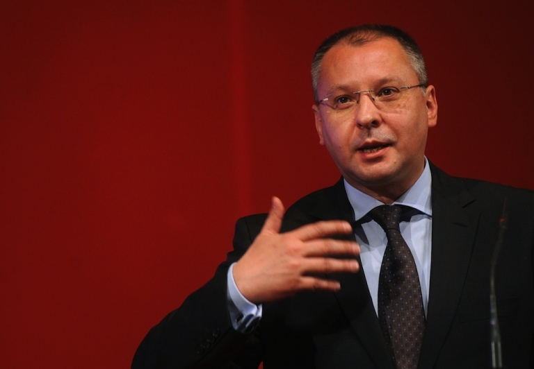 <p>Bulgarian Socialist Party (BSP) Sergey Stanishev speaks during the party's congress in Sofia on May 20, 2012.</p>
