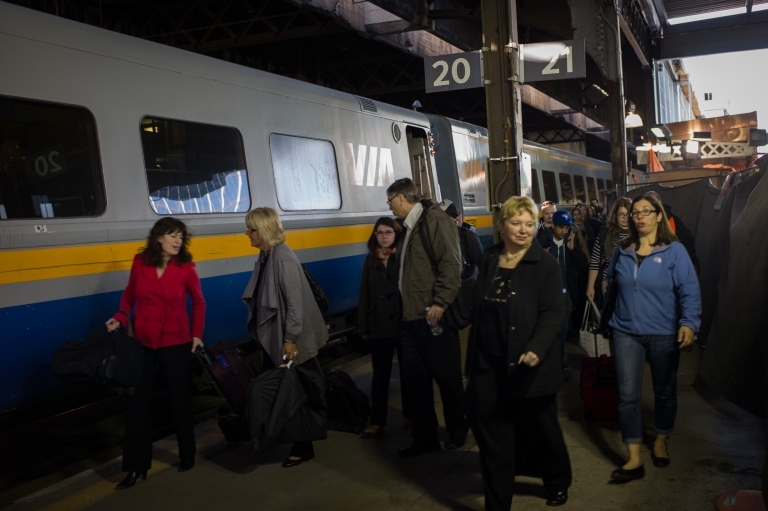 <p>Commuters leave a VIA Rail train at Union Station, the heart of VIA Rail travel, on April 22, 2013 in Toronto, Ontario, Canada. The Royal Canadian Mounted Police (RCMP) report they have arrested two people connected to an alleged Al Qaeda plot to detonate a bomb on a VIA Rail train in Canada.</p>