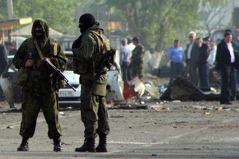 <p>Special forces officers at the site of a militant bomb blast in the Dagestan's capital Makhachkala. The low-level violence shows no sign of abating.</p>