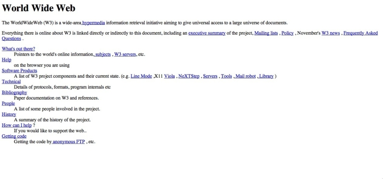 <p>A screenshot of the world's first web page.</p>