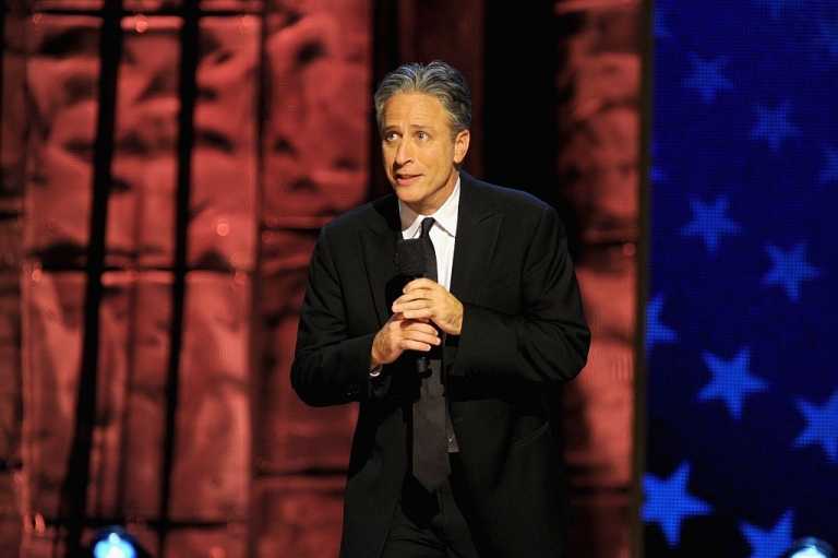 <p>Jon Stewart speaks onstage at Comedy Central's night of too many stars: America comes together for autism programs at The Beacon Theater on October 13, 2012 in New York City.</p>