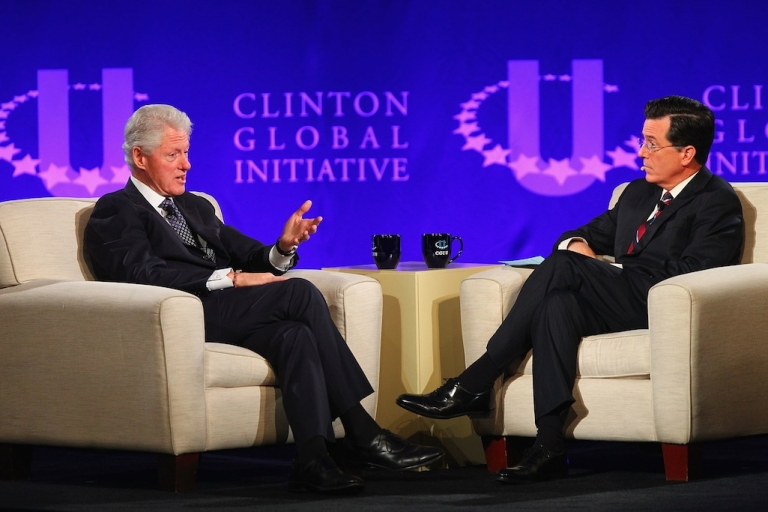 <p>ST. LOUIS, MO - APRIL 6: Former President Bill Clinton and TV personality Stephen Colbert hold a discussion during the Clinton Global Initiative University at Washington University on April 6, 2013 in St Louis Missouri.</p>