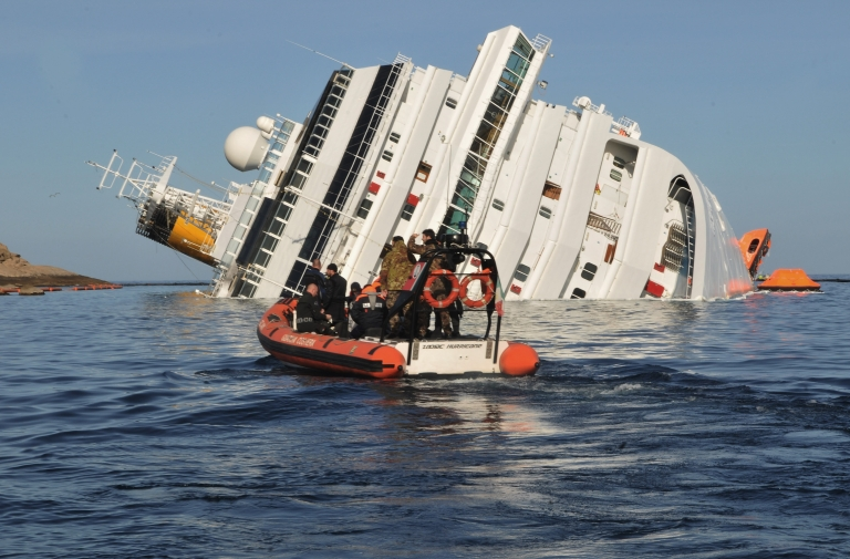 <p>The Costa Concordia cruise ship, which ran aground on January 13, 2012 in Giglio Porto, Italy.</p>