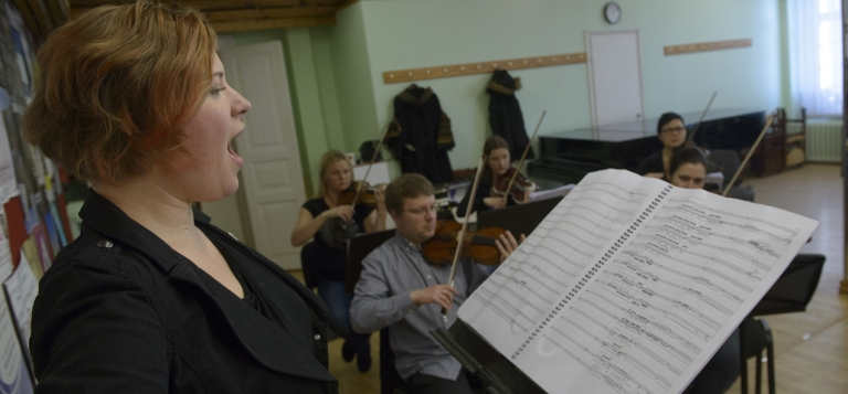 <p>Singer Iris Oja performs with members of Estonia's Tallinn Chamber Orchestra during a rehearsal of the opera