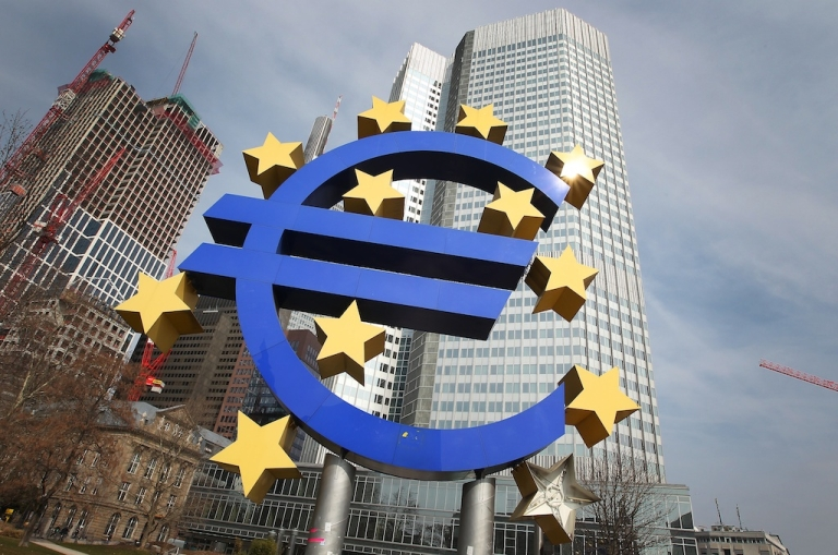 <p>The euro logo is seen in front of the European Central Bank in Frankfurt, Germany, on April 4, 2013.</p>