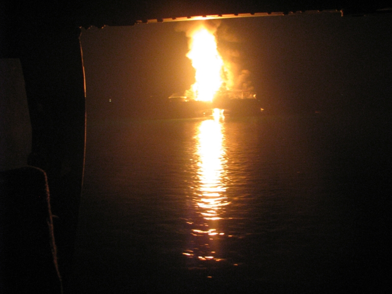 <p>Two fuel barges exploded at a docking area on Alabama's Mobile River on the night of Wednesday, April 24, 2013.</p>