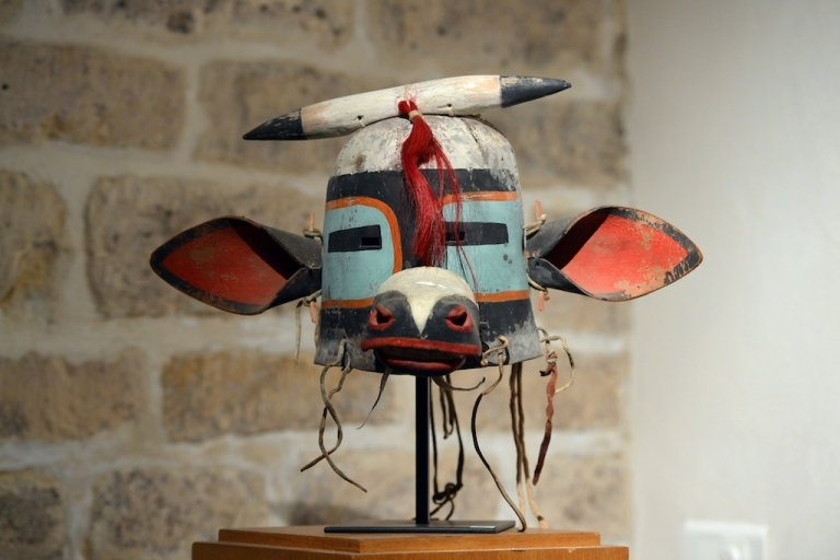 <p>This picture taken on April 5 shows the 'Wakaskatsina' mask, one of 70 masks that went under the hammer at an auction in Paris on April 12.</p>