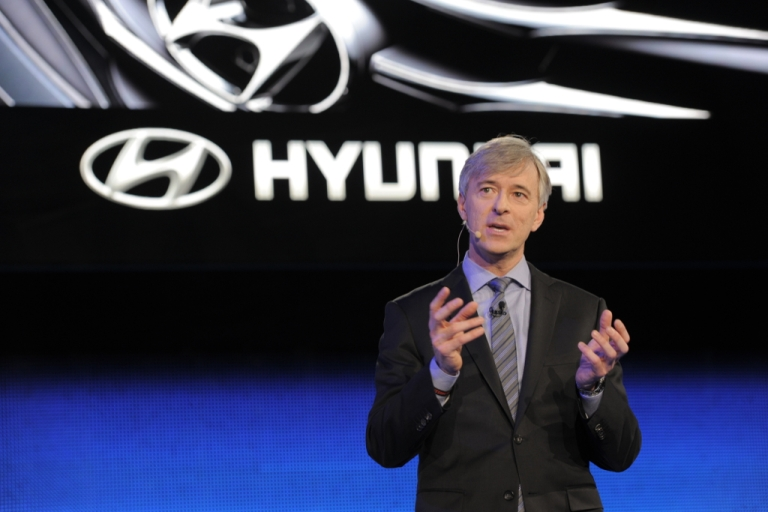 <p>John Krafcik, President and CEO of Hyundai Motor America, speaks at the 2013 North American International Auto Show in Detroit, Michigan, on January 14, 2013.</p>