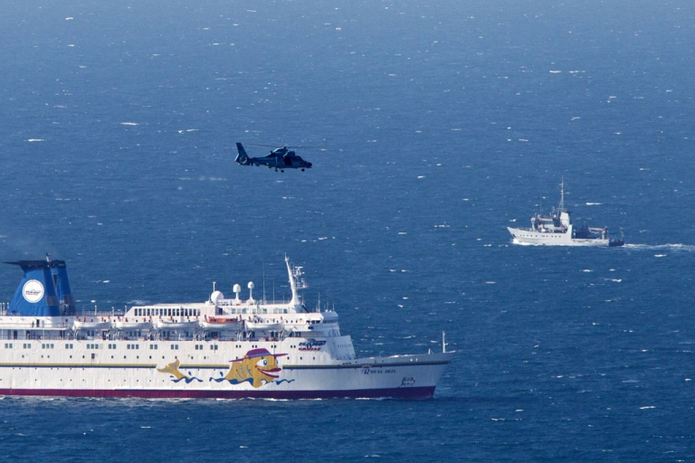 <p>An Israeli navy vessel and helicopter search for the wreckage of a drone which was shot down by the air force off Israel's northern coast on April 25, 2013. The unmanned drone was sent by Hezbollah, deputy defence minister Danny Danon told army radio.</p>