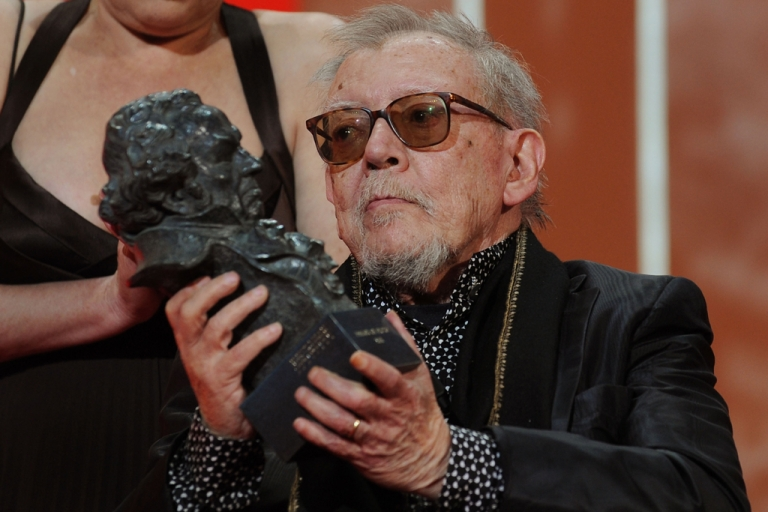 <p>Spanish director Jesus Franco is awarded an honorary Goya for his lifetime work in the Spanish film industry at the 2009 Goya Cinema Awards Ceremony in Madrid, Spain.</p>