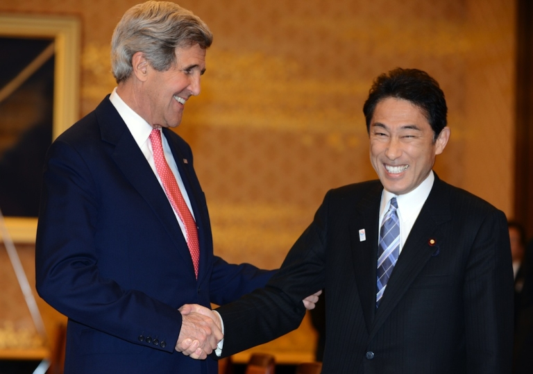 <p>US Secretary of State John Kerry with Japanese Foreign Minister Fumio Kishida prior to their talks in Tokyo on April 14, 2013.</p>