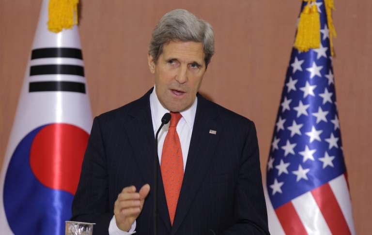 <p>US Secretary Of State John Kerry attends with South Korean Foreign minister Yun Byung-Se a joint press conference on April 12, 2013 in Seoul, South Korea.</p>
