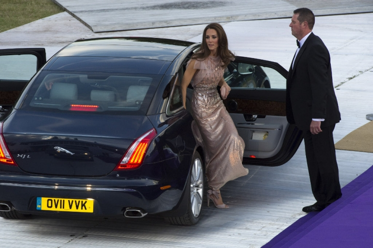<p>Catherine, the Duchess of Cambridge (R) arrives at the 10th Annual Absolute Return for Kids (ARK) Gala Dinner on behalf of the Foundation of Prince William and Prince Harry, at Perks Field, Kensington Palace, in London, on June 9, 2011.</p>