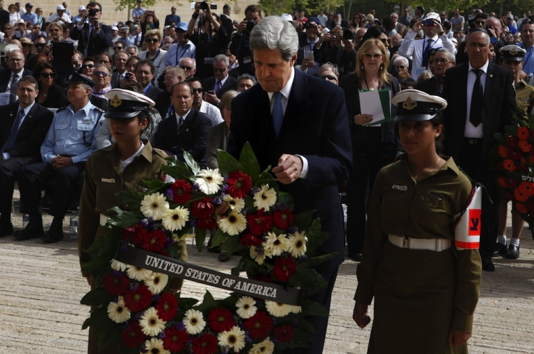 <p>Secretary of State John Kerry lays a wreath during the annual ceremony for Holocaust Remembrance Day at the Yad Vashem memorial on April 8, 2013 in Jerusalem, Israel.</p>