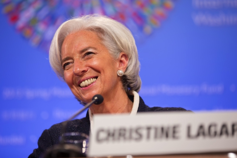 <p>IMF Managing Director Christine Lagarde speaks to reporters during a news conference at the start of the IMF-World Bank spring meetings in Washington, D.C., on April 18, 2013.</p>