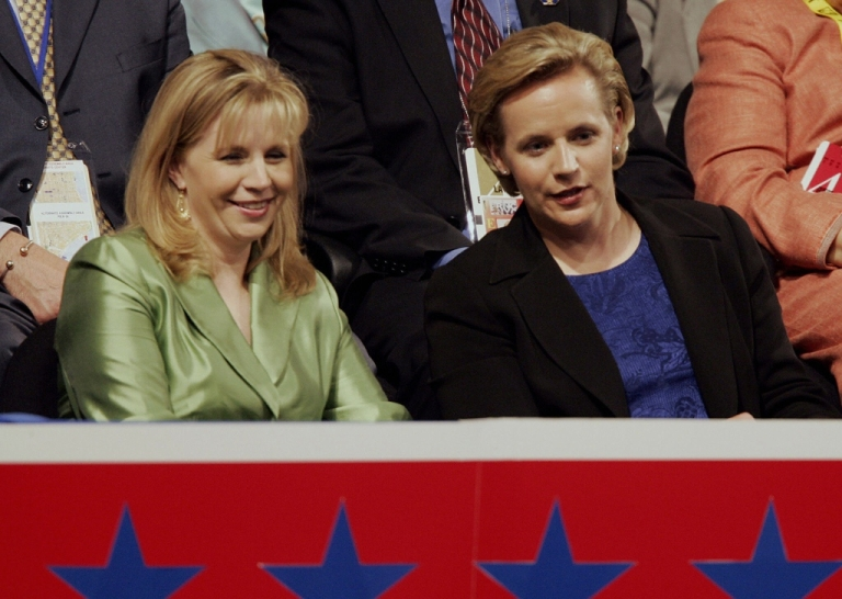 <p>NEW YORK, United States: Elizabeth(L) and Mary Cheney, daughters of Vice President Dick Cheney attend the Republican National Convention at Madison Square Garden in New York City 01 September, 2004. Convention delegates formally nominated President George W. Bush for another four-year term 31 August and he will accept the party's nomination during a prime-time televised speech 02 September.</p>