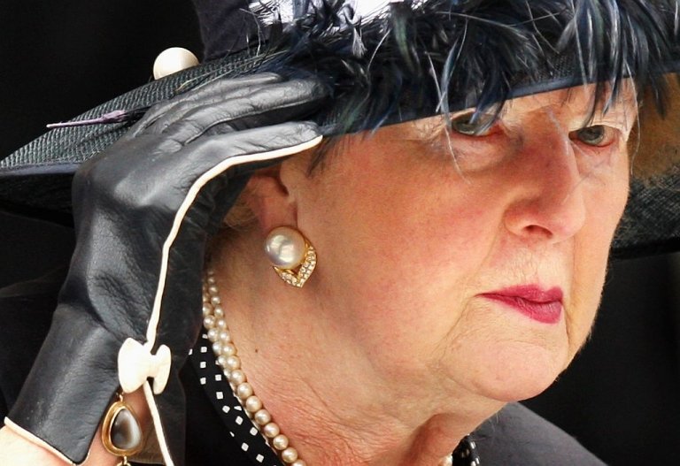<p>LONDON: Baroness Margaret Thatcher arrives at the UK Commemorative Service for Northern Ireland Operations at St Paul's Cathedral on September 10, 2008 in London, England. (Chris Jackson/Getty Images)</p>