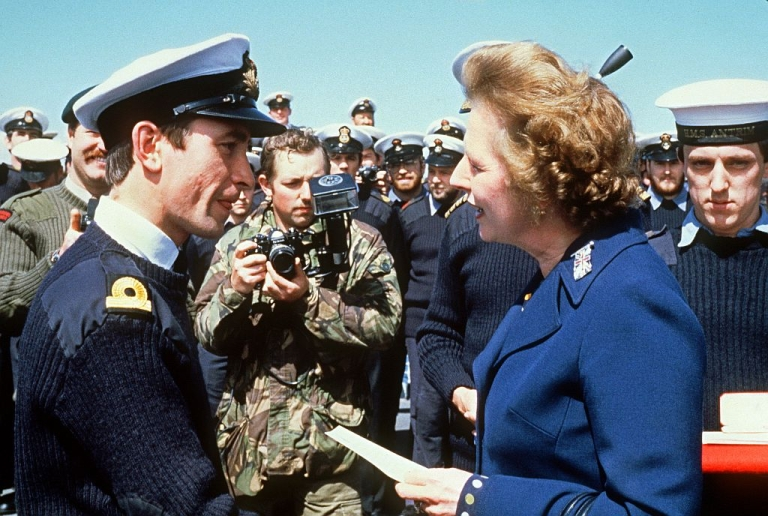 <p>Thatcher in 1983 meeting navy personnel on the Falkand Islands.</p>