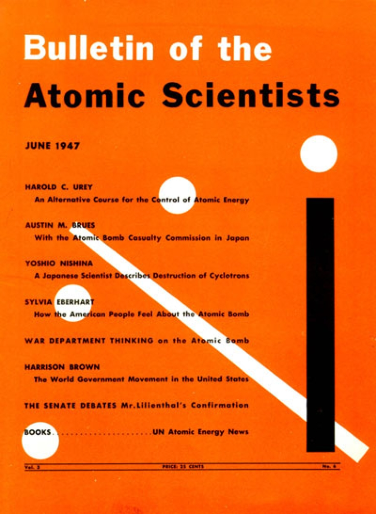 <p>The cover of the June 1947 issue of the Bulletin of Atomic Scientists featuring Martyl Langsdorf's Doomsday Clock design.</p>
