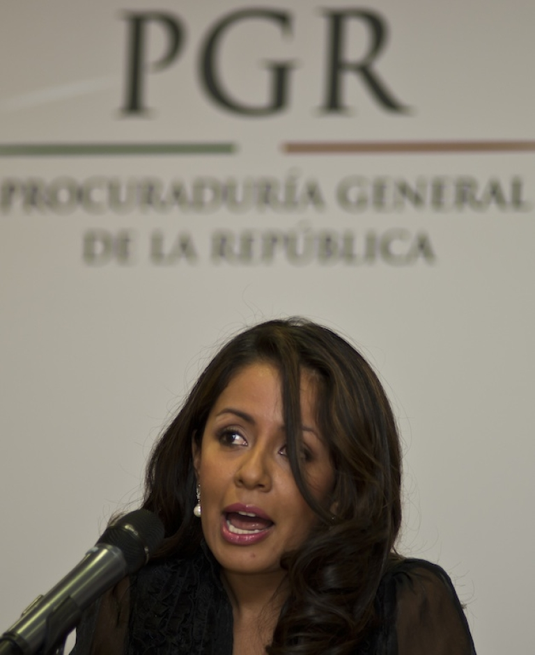 <p>Mexican Assistant Attorney General Mariana Benitez speaks during a news conference to announce the arrest of gunmen who had been plotting to kill two legislators in Mexico City.</p>