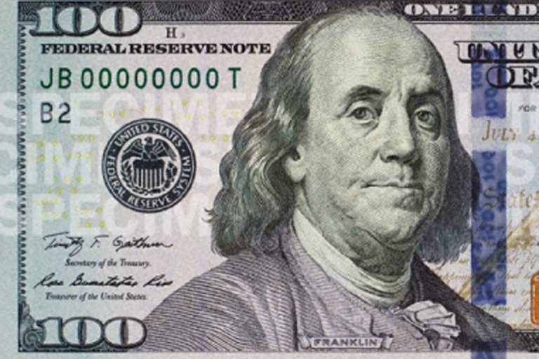 <p>The new $100 bill has additional security features such as a three-dimensional security ribbon.</p>