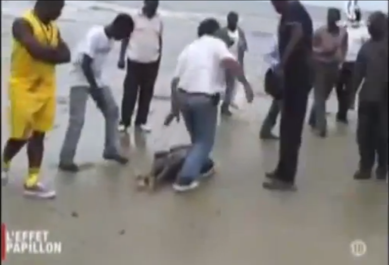 <p>Footage taken from a video released by Anonymous of what allegedly shows a young girl's body, harvested for organs, washing up on a beach in Gabon.</p>