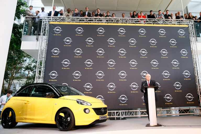 <p>Dan Akerson, CEO of General Motors speaks next to an Opel car 'Adam' during a press conference at Opel headquarters on April 10, 2013 in Ruesselsheim, Germany.</p>