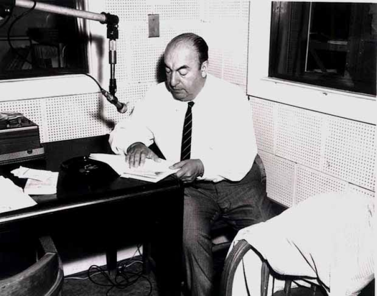 <p>Pablo Neruda during a Library of Congress recording session, 20 June 1966</p>