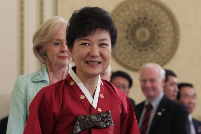 <p>South Korean President Park Geun-Hye attends during a dinner after her inauguration ceremony at presidential house on February 25, 2013 in Seoul, South Korea.</p>