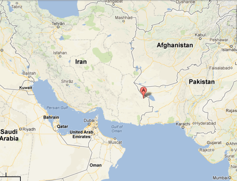 <p>A 7.8-magnitude earthquake rocked Iran on April 16, 2013. This Google Map shows the epicenter in southeast Sistan and Baluchistan province.</p>