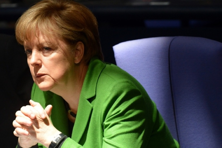 <p>German Chancellor Angela Merkel attends a session at the Bundestag (lower house of parliament) on March 22, 2012 in Berlin.</p>