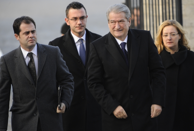 <p>Albanian Prime Minister Sali Berisha arrives at the EU Headquarters for a European People's Party (EPP) enlarged summit on Dec. 13, 2012 in Brussels.</p>