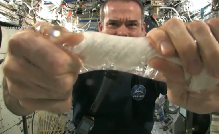 <p>Commander of the International Space Station Chris Hadfield shows the universe how to wring out a wet cloth in space.</p>