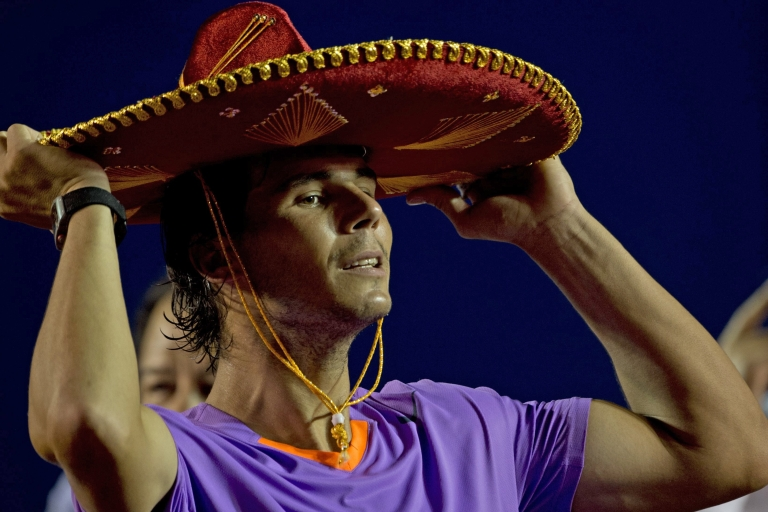 <p>Rafael Nadal, the Spanish tennis star, puts on a traditional Mexican mariachi hat at the Mexico ATP Open in Acapulco, Guerrero state in March.</p>