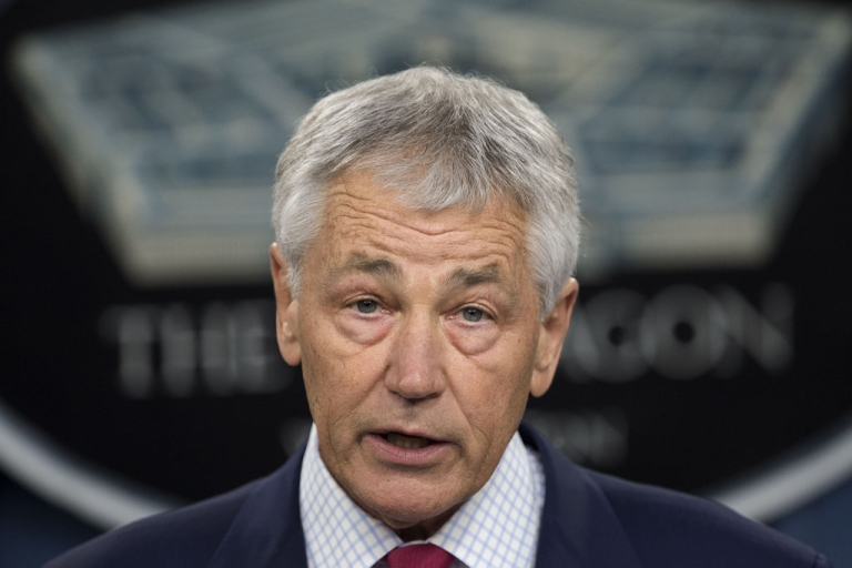<p>US Secretary of Defense Chuck Hagel speaks on March 15, 2013, inside the media briefing room of the Pentagon, in Washingon, DC.</p>
