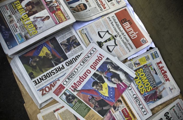 <p>Read all about it. Nicolas Maduro's narrow victory in the Venezuelan presidential election was splashed across the front pages of local newspapers on Monday.</p>