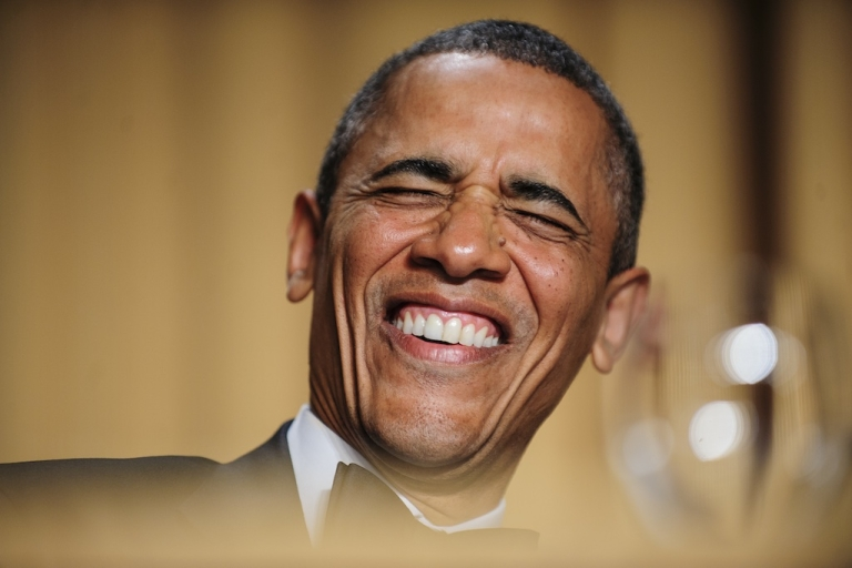 <p>President Barack Obama reacts to a joke told by comedian Conan O'Brien during the White House Correspondents' Association (WHCA) in Washington, District of Columbia, U.S., on Saturday, April 27, 2013.</p>