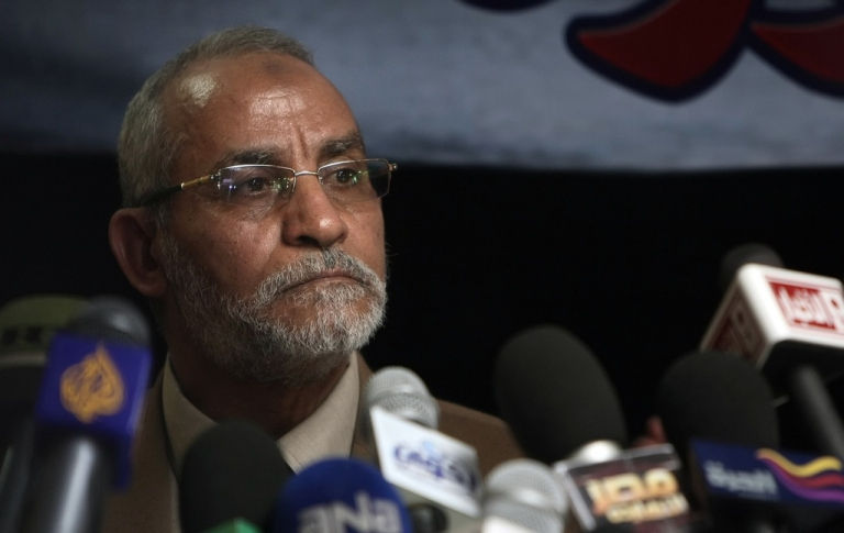 <p>Mohammed Badie, the head of Egypt's Muslim Brotherhood, speaks during a press conference in Cairo on March 16, 2011. Badie was arrested by Egyptian security forces on August 20, 2013.</p>
