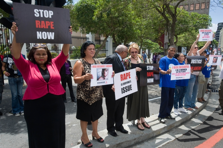 <p>February 11, 2013- Western Cape Province Premier and leader of the opposition Democratic Alliance (DA) party Helen Zille (4th L) joins a protest to against rape outside the parliament in the center of Cape Town. The protest was called for after the gang-rape, and mutilation of 17 year-old Anene Booysen, who eventually died of her injuries, on February 2, 2013.</p>