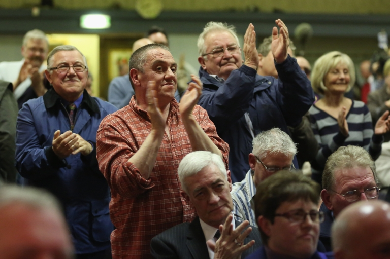 <p>Members of the public stand and applaud as UK Independence Party (UKIP) Leader Nigel Farage addresses members of the public during a political meeting at the Armstrong Hall during canvassing for votes during the local election on April 30, 2013 in South Shields, England. Success for UKIP in upcoming European elections could be a sign of the UK leaving the EU.</p>