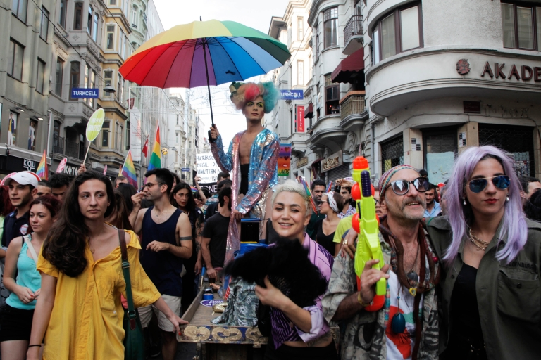 <p>People in Istanbul, Turkey march and chant slogans during a gay parade on Istiklal Street, the main shopping corridor on June 30, 2013 in during the fourth Trans Pride Parade as part of the Trans Pride Week 2013, which is organized by Istanbul's 'Lesbians, Gays, Bisexuals, Transvestites and Transsexuals' (LGBTT) solidarity organization.</p>