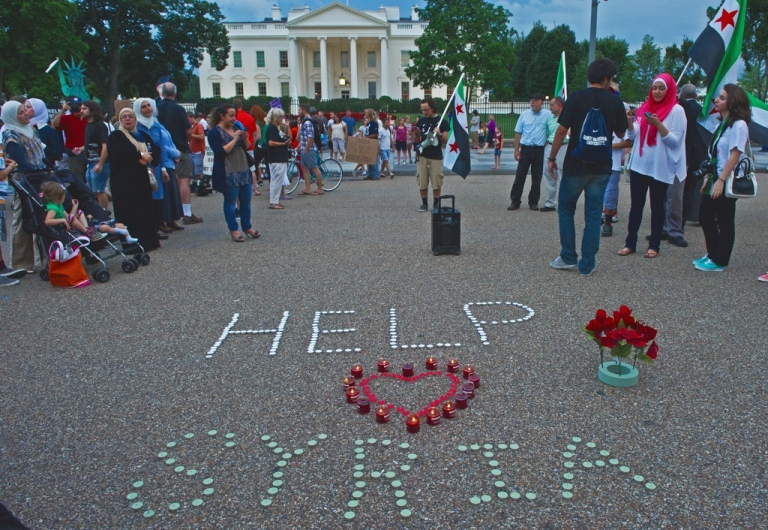 <p>Demonstrators in Washington. Germany's backing for intervention would  raise the stakes.</p>
