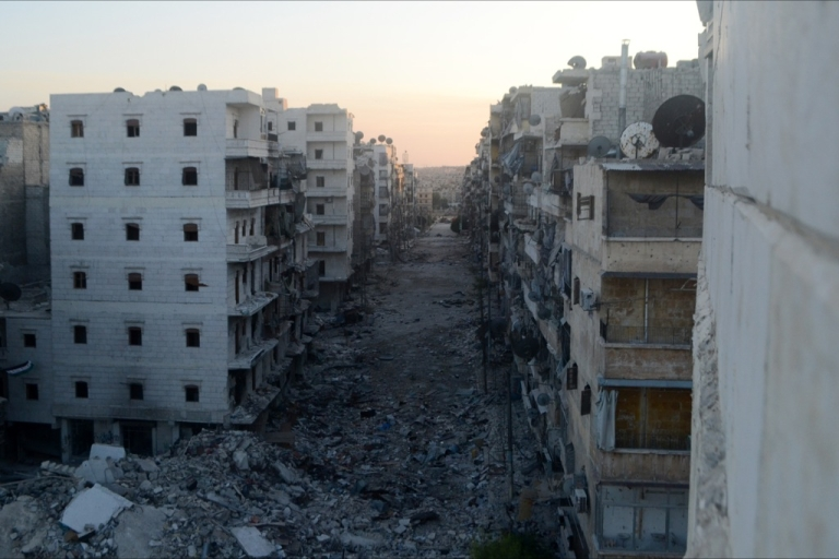 <p>A picture taken on August 22, 2013 shows a devastated street in the Salaheddine district of the northern city of Aleppo, Syria. Russia questioned Western claims the Syrian regime may have carried out a chemical weapons attack and branded as 'unacceptable' calls to consider using force against Bashar al-Assad's regime.</p>