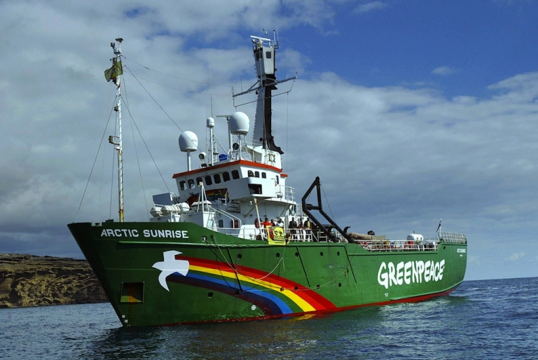 <p>Greenpeace ship the 'Arctic Sunrise' arrived last 19 February in the Canary Islands, starts a tour of Spain 22 February 2005.</p>