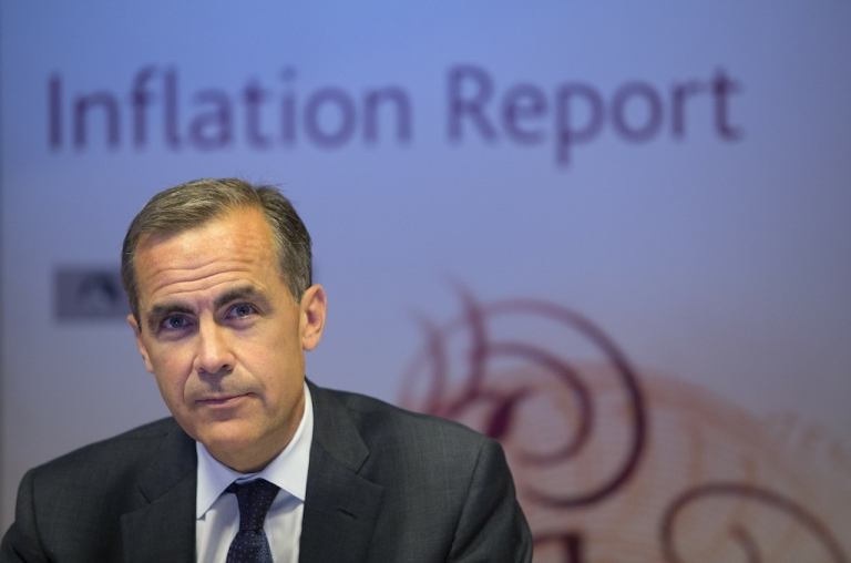<p>Bank of England Governor Mark Carney holds his first BoE news conference in London on August 7, 2013.</p>