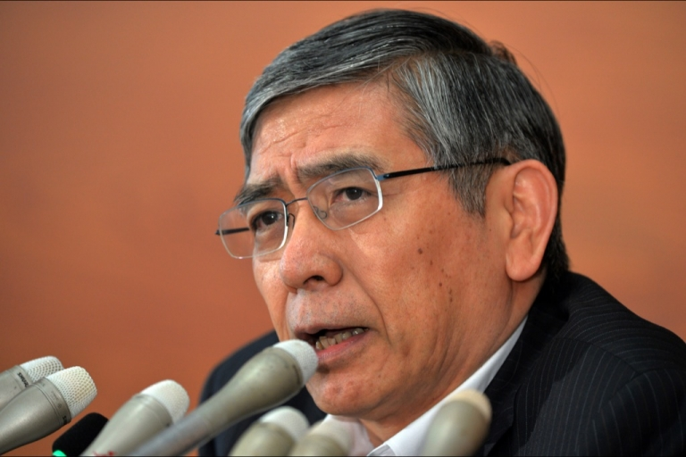 <p>Governor Haruhiko Kuroda speaks to the press at the BOJ headquarters in Tokyo on August 8, 2013 after a two-day policy meeting</p>